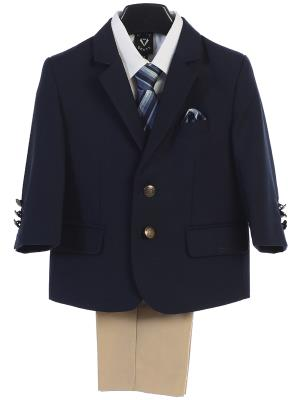Boys Navy and Khaki Suit
