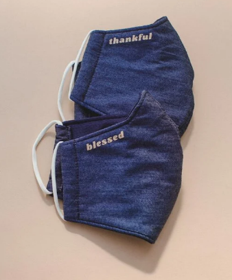 Thankful and Blessed Denim Masks