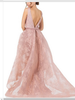 Blush Long Evening Lace Gown with Train
