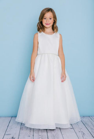 Girls Pearl Trim Waist Floor Length Flower Girl Dress