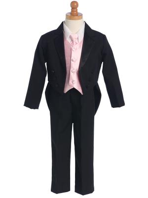 Boys Tailcoat Tuxedo with Color Change Vest and Neck Tie