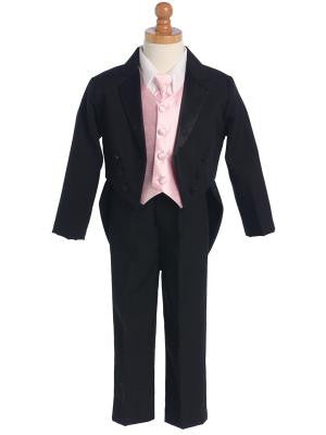 Boys Tailcoat Tuxedo With Color Change Vest and Necktie