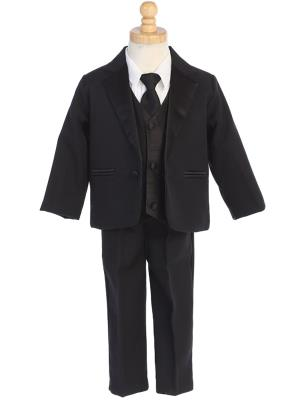 Boys One Button Tux With Color Change Vest and Necktie