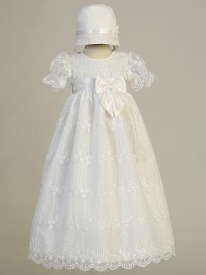 Camila Embroidered Tulle Christening Gown