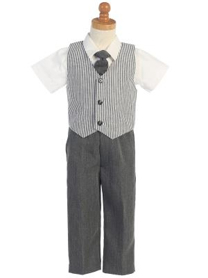 Boys Seersucker Charcoal Vest and Pant Set