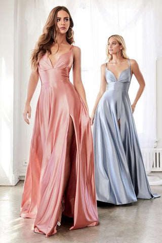 Sweetheart Neck A- Line Satin Evening Gown