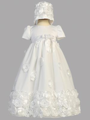 Clarice Floral Ribbon Christening Dress