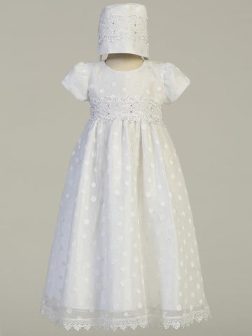 Coco Embroidered Polka Dot Christening Gown