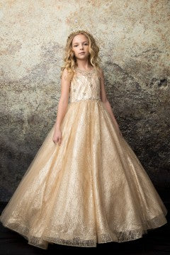Girls Evelyn Champagne Dress