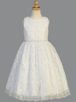 Girls Embroidered Tulle First Communion Dress