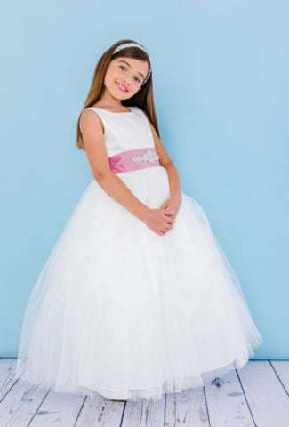 Girls Full Length Tulle and Satin Flower Girl Dress