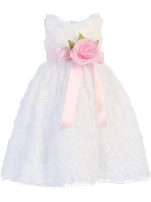 Girls Embroidered Tulle Flower Girl Dress