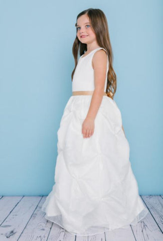 Girls Organza Pick Up Floor Length Dress