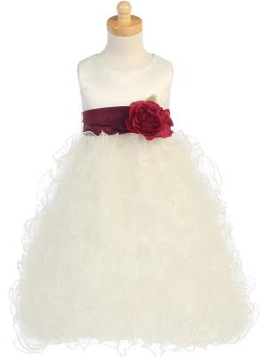 Girls Ivory Satin and Ruffled Organza With Color Change Sash/Flower Dress