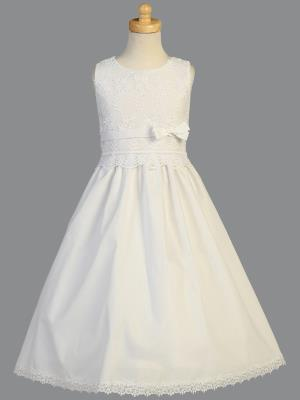 Girls Embroidered Cotton Girls Communion Dress