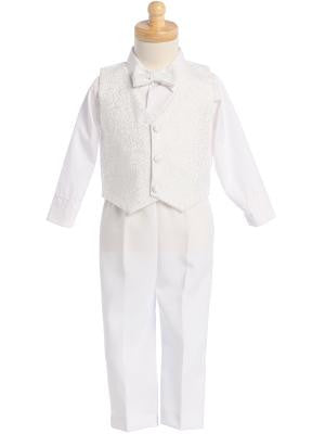 Boys White Jacquard Vest and Pant Set