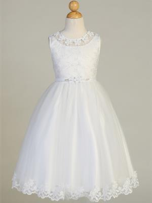 Flower Trim Embroidered Communion Dress