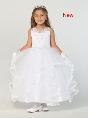 Girls Satin Ruffled Tulle Skirt Communion Dress