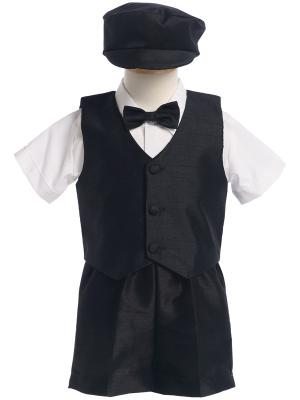 Boys Poly Silk Vest and Short Set