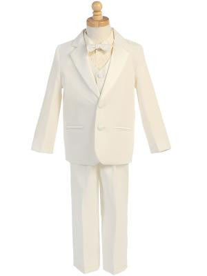 Boys Ivory Tuxedo With Vest and Bow Tie