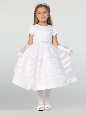 Girls Satin Banded First Communion Dress