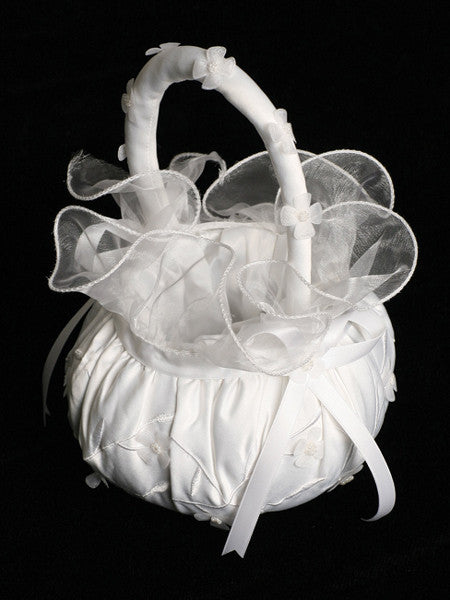 Wedding Flower Girl Embroidered Satin Basket