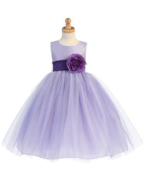 Girls Lilac Silk and Tulle Flower Girl Dress