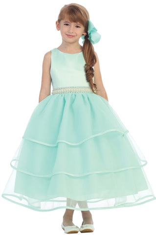 Girls Flower Girl Dress With Pearl Accent Belt