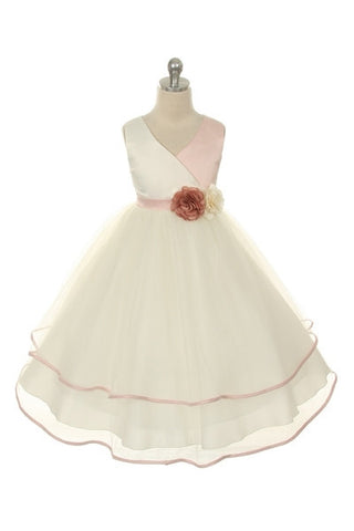 Girls Rose Two Tone Layered Dress