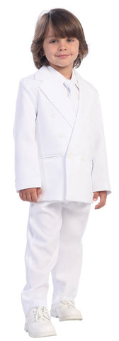 Boys White Double Breasted Formal  Suit