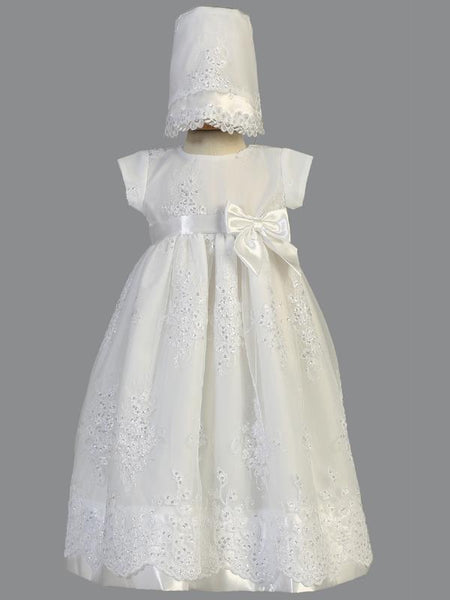 Kendall Embroidered Organza Christening Gown