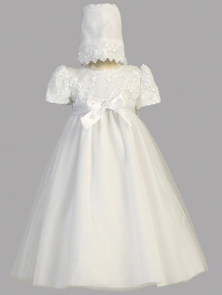 Lillian Embroidered Satin Ribbon Christening Gown