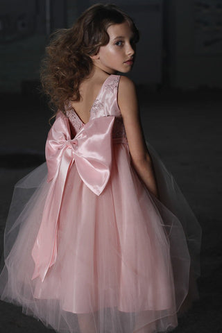 Girls Blush Luxury Silk Top Large Bow Flower Girl Dress