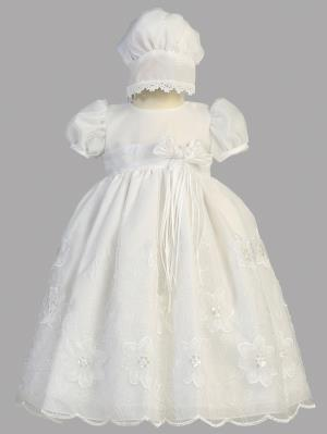 Samantha Embroidered Organza Christening Dress