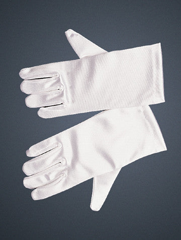 Girls Short Satin White Gloves