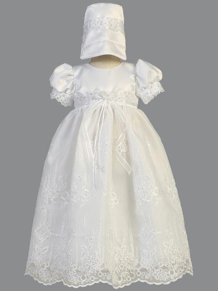Ashley Satin Embroidered Christening Gown