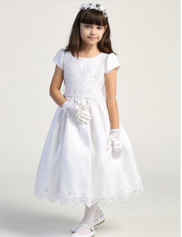 Girls Embroidered Lace with Sequin on Tulle Communion Dress