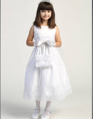 Girls Tulle With Corded Embroidery First Communion Dress