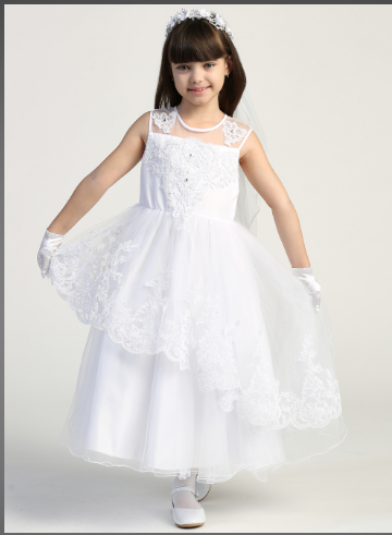 Girls Tulle With Beaded Applique Communion Dress