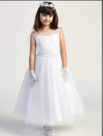 Girls Embroidered Key Hole Back First Communion Dress