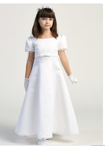 Girls Satin A Line Communion Dress