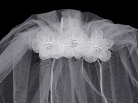 "18"" First Communion Veil on Flower Comb"