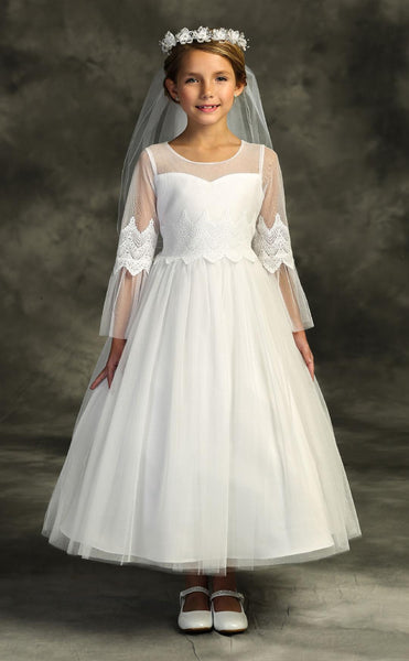 Girls Mesh Sleeve and Lace Communion Dress