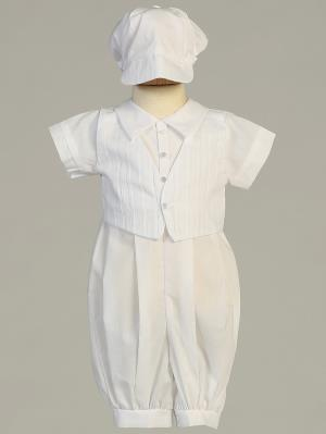 Tristen Embroidered Cotton Baptismal Romper