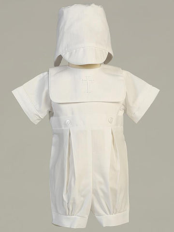 Zachary Embroidered Cross Christening Romper