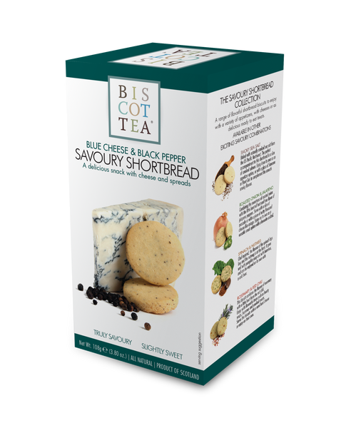 BISCOTTEA SAVOURY SHORTBREAD: Blue Cheese & Black Pepper