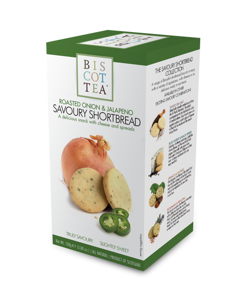 BISCOTTEA SAVOURY SHORTBREAD: Roasted Onion & Jalapeno