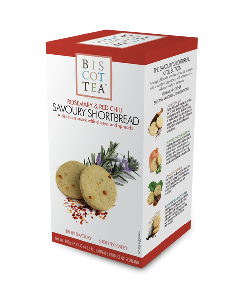 BISCOTTEA SAVOURY SHORTBREAD: Rosemary & Red Chili