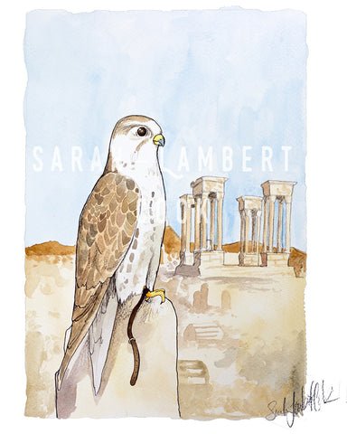 Saker Falcon - Printable Art  - 100% of Proceeds Donated to American Refugee Committee