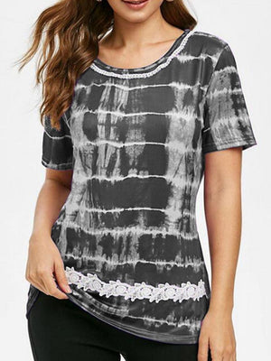 03-23T02:33:59-07:00 *** Crew Neck Tie-dye Print Lace Panel T-Shirt
